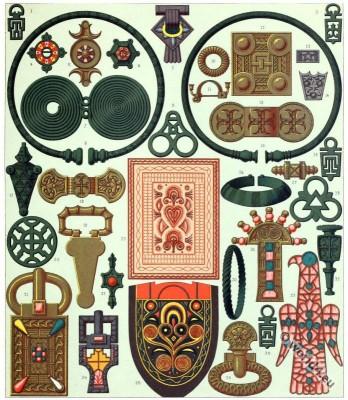 Merovingian, Jewelry. Auguste Racinet, Celtic, Gaul, Gaulish antiques