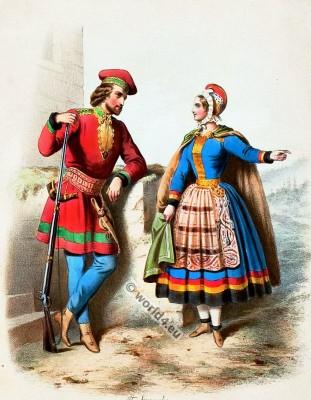 Costumes Norwegiens. Alexandre Lacauchie. Les nations. Album des Costumes De Tous les Pays.