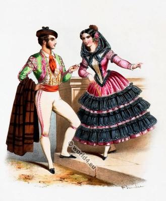 Costumes Espagnols. Alexandre Lacauchie. Les nations. Album des Costumes De Tous les Pays.