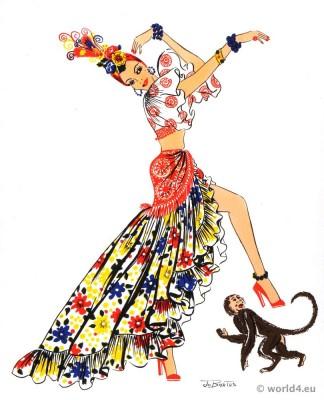 Rumba costumes. Cuba folk dress. Latin american folk clothing.