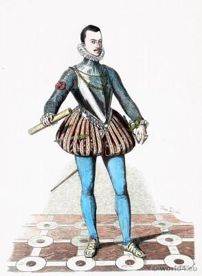 Don Juan de Austria. Spanish court dress. 16th century fashion. Baroque fashion.