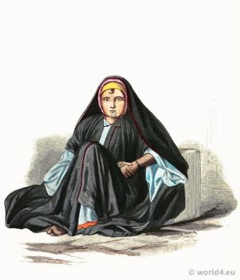 Traditional Fellah costume. Girl dress from Alexandria, Egypt. Franz Lipperheide.