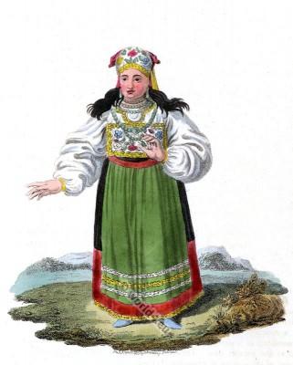 Traditional Esthonian folk costume. Baltic folk dress. Russian national clothing