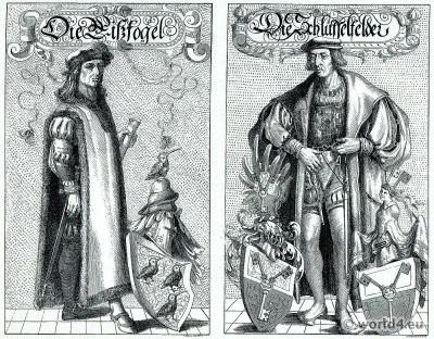 German 16th century. Heraldic costumes. Renaissance dresses.