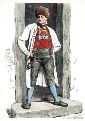 Traditional German national costume. Farmer from Hanau, Baden in folk dress. Franz Lipperheide