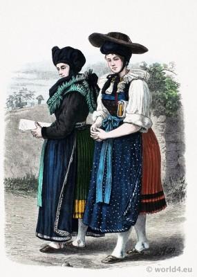 Mark Brandenburg folk dresses. Traditional German national costume. Franz Lipperheide.