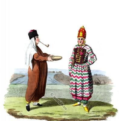 Traditional Kalmyk national costume. Russian empire folk dress.