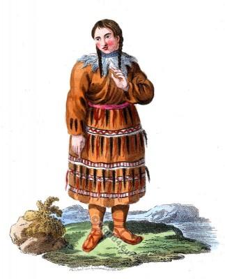 Traditional Kamchatka Peninsula folk dress. Russian national costume