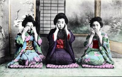 Three Wise Monkeys. Japan Geisha kimono. Traditional Japanese costumes
