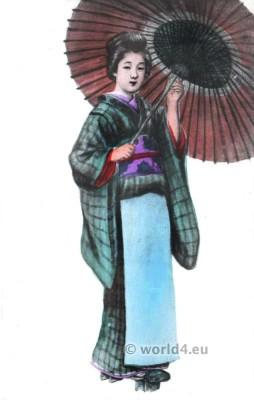 Japan Geisha kimono. Traditional Japanese costumes.