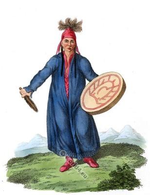A Female Shaman costume. Sorceress Magician dress of Krasnojarsk.