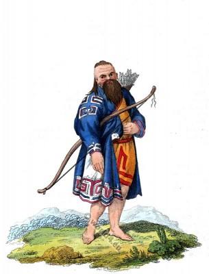 Kuril Islands folk dress. Aboriginal Ainu in traditional costume.