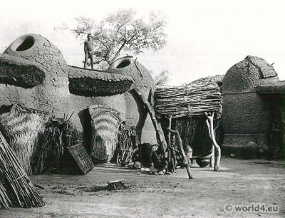 African architecture. Mundang houses, Léré, Mayo Kebi.