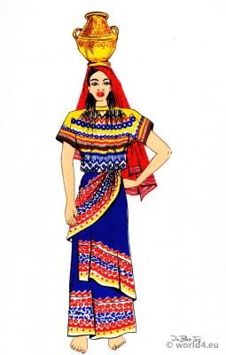 Latin american folk dress. Traditional Panama Folk Costume