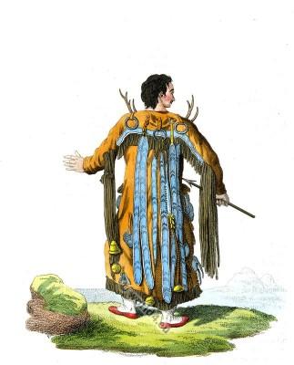 Traditional Evenki Shaman costume. Russian Tungusian national dress.