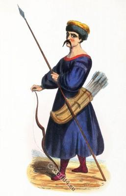 Kalmyk soldier costume. Traditional Kalmykia clothing. Asian army dress