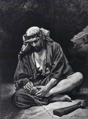 Traditional Arab Bedouin Burnus costume. بَدْو