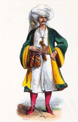 Bukhara folk dress. Traditional Uzbekistan costume. Ancient Asian clothing