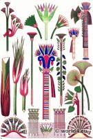 Ancient Egypt lotus and papyrus ornaments. Grammar of Ornament by Owen Jones.