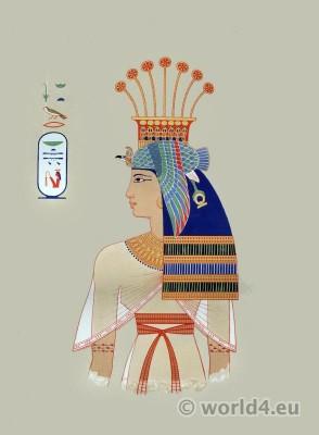 Ancient Egypt Queen Nebto costume. Egyptian pharaoh crown