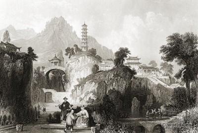 China Imperial Palace. Ancient Chinese landscape. 天堂行宫(虎丘山上的宫殿)