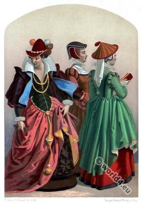 german renaissance costumes.16th century fashion. headdresses