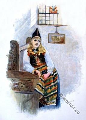 Traditional swedish national costumes. Scandinavian Folk costume.