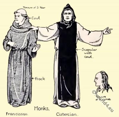 Monks tonsur. Monks costumes. Monachism. Monastic costumes history.