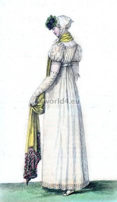 Costume Parisien. Touffes de Violettes. Robe Ronde. Regency Costumes. France First empire fashion.