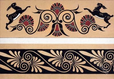 Antique Greek Art. Ceramics. Ornaments on vases.