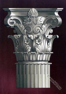 Antique Greek Art. Corinthian capital of the Lisícrates Memorial (Lisícrates lantern) in Athens.