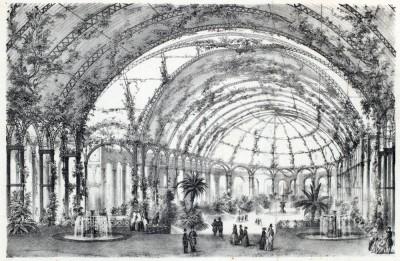 New View of Winter Garden at Champs-Elysées. Vue de Nouveau Jardin d'Hiver.