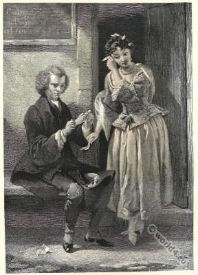 Tristram Shandy. Romantic era. Rococo costumes fashion