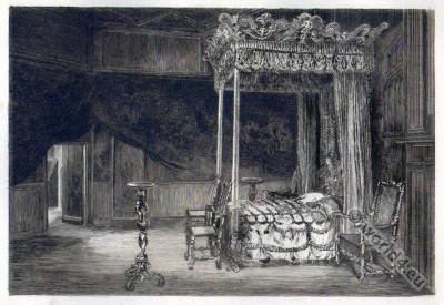 Bedchamber. Mary Stuart. Holyrood Palace. Tudor era.