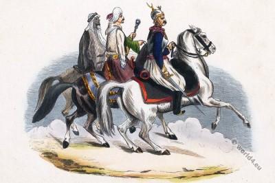 Arabia Egypt military. Egyptians Cavaliers. Historical clothing.