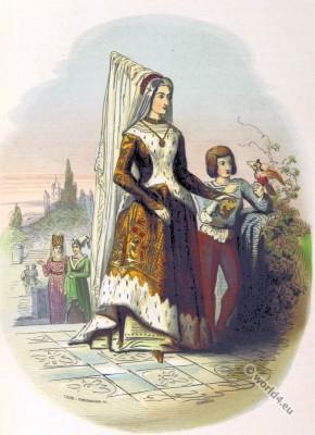 Mary of Burgundy,  Duchess of Burgundy. Medieval Burgundy, Gothic Costume period.