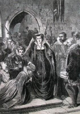 Mary Queen of Scots execution. England Tudor era fashion