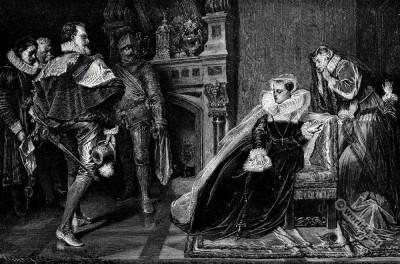 Mary Queen of Scots in Prison. England Tudor era fashion
