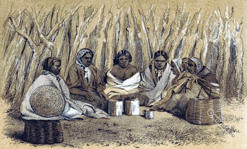 Interior of a Native Aboriginals Hut Australia.