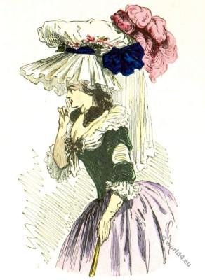 Chapeau coiffure bonnette, robe à la turque, grande parure 1786. Rococo fashion era.