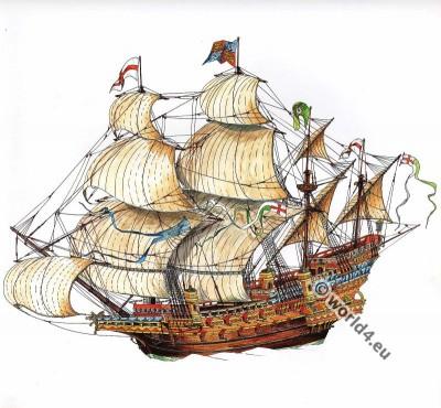 Elisabethan, Galleon, 16th century, Tudor, ship, Maritime