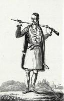 Albanian Prémiti or Toxide. Albanian soldier costume. Traditional Albania costumes.