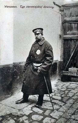 Jewish character. Jewish security guard. Jew Warsaw, Poland. Jewish traditional clothing and costumes.