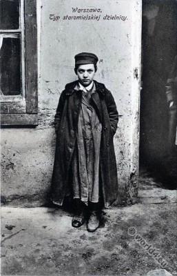 Jewish character. Jew Warsaw, Poland. Jewish traditional clothing and costumes.