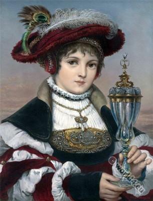 Renaissance portrait. Elsa. Ferdinand Wagner. Nazarene. Romanticism art.
