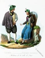 Tyrolean national costumes. Austrian traditional fashion. Dux folk dress.
