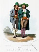 Tyrolean national costumes. Austrian traditional fashion. Vinschgau folk dress.
