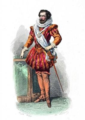 Cour robe du 16ème siècle. la mode baroque. Cour de Henri IV.