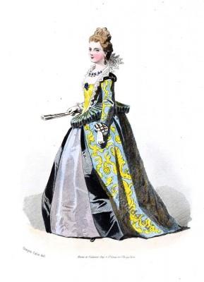 Robe du 16ème siècle. la mode baroque. Epoque de Henri IV