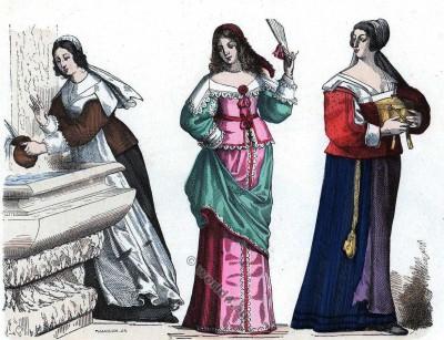 Chambrière. Dame en petite Toilette. Bourgeoise. la mode baroque. 16ème siècle costumes.